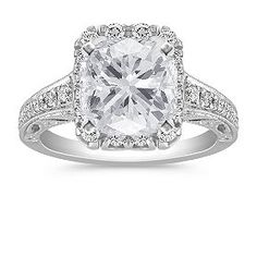 Vintage Halo Engagement Ring with Pavé Setting with Cushion Cut Diamond