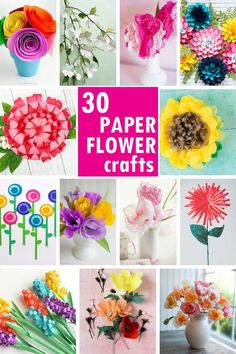 A roundup of 30 of the best paper flower tutorials! Gorgeous adult paper craft for home decor, gifts, party decorations, or bouquets. Paper Flowers For Kids, Paper Flower Wreaths, Giant Paper Flowers, Flower Crafts, Flower Paper, Diy Flower, Paper Mache Crafts, Newspaper Crafts, Paper Crafts For Kids