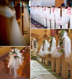 Tulle church decor - draped or spaced out on pews, with or without flowers. Can use colored tulle too (I think white is most elegant but you may prefer the cheeriness of added color). Can also be draped around candle stands or tables or altar or whatever is at the front of the church. Tulle is inexpensive yet fancy.