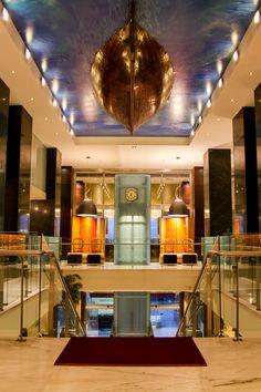 Luxurious Entrance of the GDM Megaron Hotel, Heraklion, Crete, Greece.