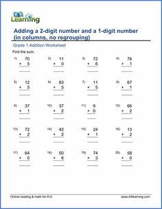 Grade 1 Addition Worksheet on adding 2-digit number and a 1-digit number