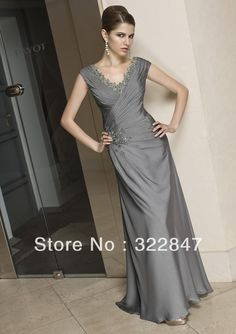 Custom made Sexy V-Neck Chiffon Satin Beaded Plus Size Mother Of The Bride Beaded Dress * Mother of the groom wedding SPM-028
