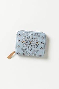 """- By Miss Albright - Magnetic snap closure - Five card slots, two money slots, button coin purse - Leather; leather, cotton lining - 4.25""""H, 5""""W, 0.75""""D - Imported"""