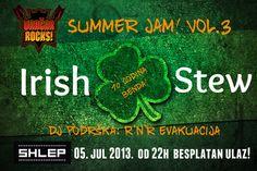 Festival Vračar Rocks u svom trećem Summer Jam! izdanju na brodu Shlep na Ušću, sutra, 05. jula od 22 časa predstavlja veliki besplatni koncert povodom 10 godina benda Irish Stew.