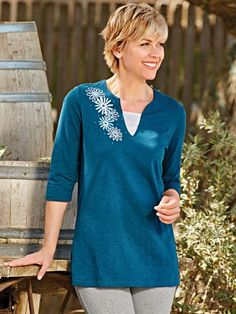 Autumn Daisies Top - <p> 	Add a floral sparkle to your day with rhinestone and embroidery. V-notched neckline with three-quarter sleeves and a longer length that gives yo
