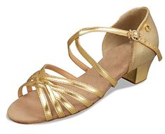 Zioso TH013 Womens Cross Strap Gold Satin Latin Salsa Ballroom Dance Shoes 10 M US -- Check this awesome product by going to the link at the image.