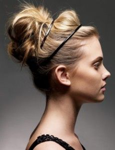 The ballerina bun. @Katie Gilley I've always loved this.... wish my hair was long enough. This would be cute with your dress & a sparkly headband instead of black.