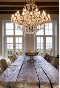 Rustic meets glam in this impressive dining room.