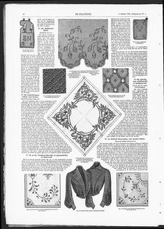Embroidered tulle border for gowns, above. Art Nouveau influence in embroidery.   (visit site for bigger picture)   Gracieuse. Geïllustreerde Aglaja, 1905, aflevering 7, pagina 82