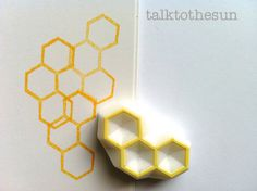 beehive stamp. geometric rubber stamp. hexagon by talktothesun, $8.00