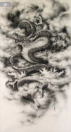 D ancient animal on pinterest chinese dragon dragon and japanese dragon - Dessin dragon japonais ...