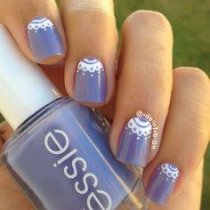 pretty purple & lace mani using Essie Lapiz of Luxury #fav