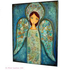 Angel Azul   Original Mixed Media Painting on Canvas by FlorLarios, $150.00