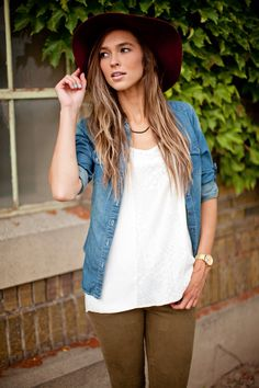 fall - white tank, denim shirt, black jeans