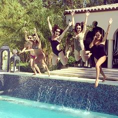 Baby bump jump! Pregnant Kourtney Kardashian threw caution to the wind and enjoyed a little pool party with pals to celebrate the beginning of summer.