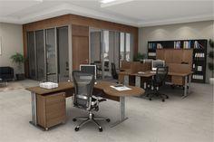 Mesa Peninsular Soft. Estação de trabalho excelente para organizar e garantir o conforto do espaço. Com seu ar clássico e harmonioso, ideal para ambientes corporativos. (Escritório)