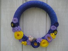 Yarn Wreath//Purple Yarn Wreath//Spring by stellakatie on Etsy
