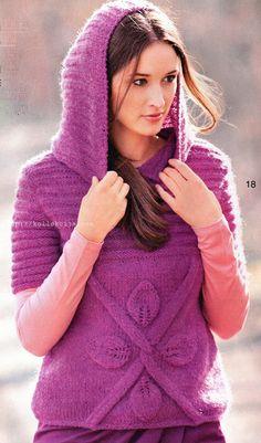 Пуловер с капюшоном спицами | Своими руками — интернет журнал