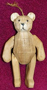 Jointed, Carved Wooden Bear Hanging Decoration