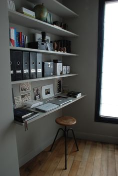 small, but super functional home office. #office #gray #industrial