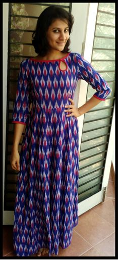 most fav so far :) bright blue and red ikat cotton maxi dress www.facebook.com/tadkabymadhu