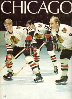 Keith Magnuson, Eric Nesterenko, and Bobby Hull, Chicago Blackhawks Blackhawks Hockey, Hockey Teams, Chicago Blackhawks, Hockey Stuff, Hockey Baby, Ice Hockey, Kings Hockey, Hockey Girls, Chicago Hockey