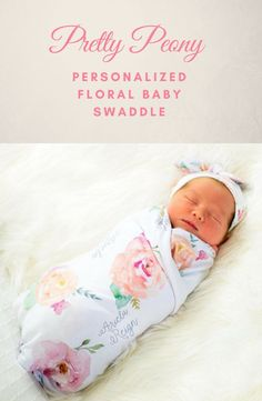 ee1e80d3a7 Pretty Peony- Personalized Floral Baby Swaddle- Floral Baby Blanket- Floral  Receiving Blanket-