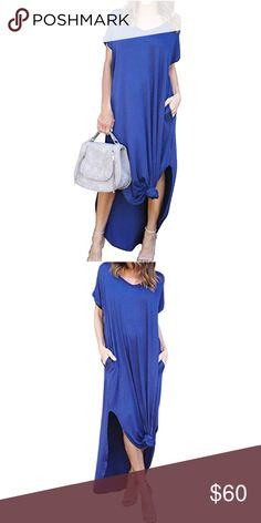 🌊BLUE Loose Fit Maxi🌊 🌊BLUE Loose Fit Maxi🌊 PERFECT for Spring & Summer with a pair of sandals or booties! 95% Rayon, 5% Spandex🌊 Dresses Maxi