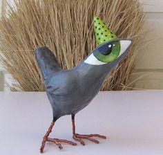 Art Sculpture  Paper Mache  Stewart  A Big Eyed Bird by Fishstikks, $52.00
