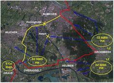 De landingsgebieden van de 82nd Airborne Division.  De rode lijn is de route voor XXX Corps.  De gele lijn was de geplande route XXX Corps, maar de bruggen bij Hatert en Honinghutje waren opgeblazen.