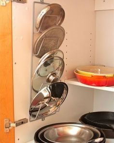 DIY Mason Jar Storage - Pot Lid Rack - Click Pic for 44 Easy Organization Ideas for the Home