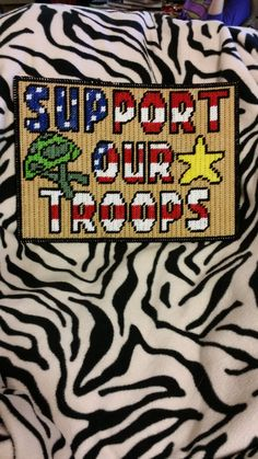 Support Our Troops Wall Hanging by BevysPlasticCanvas on Etsy Plastic Canvas Stitches, Plastic Canvas Crafts, Plastic Canvas Patterns, Military Cross, Door Hangings, Support Our Troops, Valances, Canvas Ideas, Wall Canvas