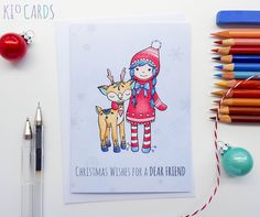 DEAR FRIEND Christmas Card | KIO Cards **Available with sentiments for Sister/Daughter** #handdrawn #illustration #drawnbyhand #inkdrawing #art #drawing #handmade #handmadecards #handdrawncards #christmascards #handmadechristmas #handmadegifts #giftsforher #deer #deers #pretty #cutegifts