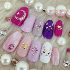 Fukuoka Hakata Station Süd Nagelstudio Lacl & # e ♡ Cute Acrylic Nails, Cute Nails, Pretty Nails, My Nails, Pastel Nails, Bling Nails, Uñas Sailor Moon, Sailor Moon Nails, Nail Swag