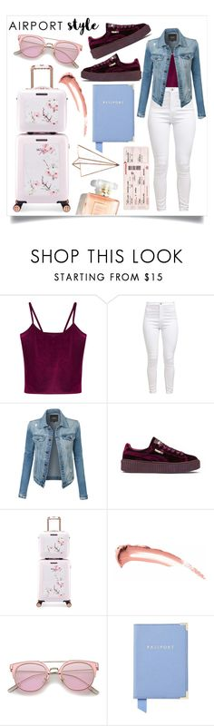 """Jet planes, islands, tigers on a gold leash.."" by its-siobhan-again ❤ liked on Polyvore featuring WithChic, LE3NO, Puma, Ted Baker and Aspinal of London"