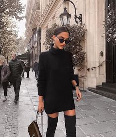 black turtleneck sweater dress with over the knee boots. Visit Daily Dress Me at. - - - black turtleneck sweater dress with over the knee boots. Visit Daily Dress Me at… – , Source by michellenobody Winter Fashion Outfits, Fall Winter Outfits, Autumn Fashion, Paris Outfits, Winter Fashion Women, Fall Work Outfits, Classy Fall Outfits, Preppy Winter, Dinner Outfits