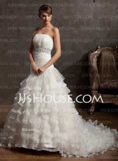 Wedding Dresses - $229.99 - Ball-Gown Strapless Chapel Train Organza Wedding Dress With Ruffle Beadwork (002012734) http://jjshouse.com/Ball-Gown-Strapless-Chapel-Train-Organza-Wedding-Dress-With-Ruffle-Beadwork-002012734-g12734