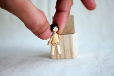 Super tiny wooden jointed art doll by monkeygstudio.deviantart.com on @DeviantArt