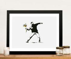 Rage Flower Thrower Banksy Print, Love is in the Air