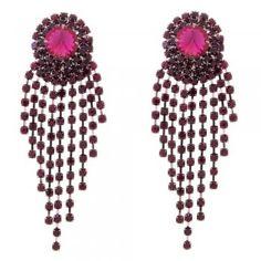 Talullah Tu Beatrice Purple Layered Crystal Earrings