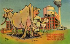 Vintage comic linen postcard GIVE DOWN BESSIE picturing man milking cow at dairy Vintage Comics, Funny Cows, History, Postcards, Dairy, Pictures, Painting, Ebay, Cream