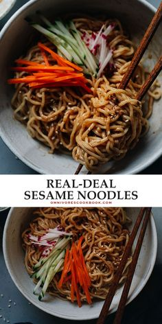 Sesame noodles is a perfect dish for a hot summer night when you don't feel like standing in front of a hot stove. The nutty savory sauce that has a hint of sweetness and spiciness, it's always a crowd pleaser. You can simply serve it without any toppings as a side dish. You top it with fresh summer produce and serve it as an appetizer for your grilling party. Or you can load it up with more toppings to serve it as a main. Yummy Pasta Recipes, Supper Recipes, Delicious Dinner Recipes, Veggie Recipes, Whole Food Recipes, Healthy Recipes, Snack Recipes, Asian Noodle Recipes, Asian Recipes