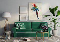 Miło mi powitać Państwa w świecie barw i pomysłów, których efekt przenoszę na,, papier'' tworząc obrazy na płótnie, nowoczesną grafikę i pejzaże. Pragnę podzielić się z Państwem moją pasją jaką jest malowanie autorskich wzorów, które drukuję, tworząc przyjemne i ciekawe kompozycje  #obraz #canvas #design Gallery Wall, Couch, Frame, Painting Canvas, Furniture, Home Decor, Design, Instagram, Houses
