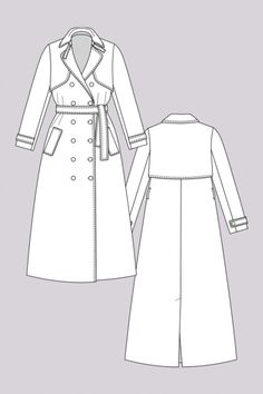 Isla Trench Coat - Named Clothing - Digital PDF Pattern Illustration Mode, Fashion Illustration Sketches, Fashion Sketchbook, Fashion Sketches, Coat Pattern Sewing, Coat Patterns, Sewing Patterns, Dress Patterns, Trench Coat Outfit