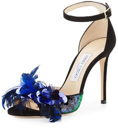 Jimmy Choo Annie Feather Suede 100mm Sandal | #Chic Only #Glamour Always