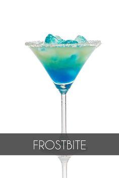 Frostbite - 1½ oz tequila - 1 oz cream - ½ oz blue curaçao - 1 oz chocolate liqueur - ½ oz crème de menthe