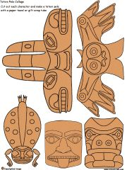 Printable Totem Pole Collage Sets Color Book Arts and Activities for Children