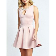 Scoop Callar Beaded Cut-Out Sleeveless Solid Color Women's Dress, PINK, M in Dresses 2014 | DressLily.com