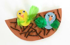 Spring Crafts for Kids: Scissor practice: Nest and Birds Paper Craft