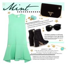 """""""Mint"""" by francescar ❤ liked on Polyvore featuring Victoria, Victoria Beckham, Gianvito Rossi, Prada, Tai and Lalique"""